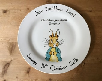 Peter rabbit personalised hand painted christening plate gift