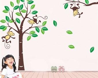 Monkey in Tree Nursery Wall Sticker Large