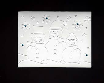 Set of 5 Three Snowmen CLASSIC Winter Cards