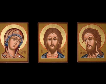 "Deesis. Icon Russian orthodox. Icon handpainted on wooden panel (3 element) 3,5""х4,7""х0,8"""
