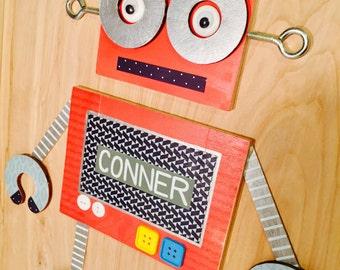 Robot Wall Art, Boys Nursery Decor, Kids Room Wall Art, Wood, Cardstock & Metal Collage, Mixed Media