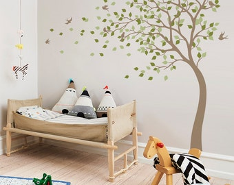 Tree in the wind with birds wall decal bending brown tree nursery wall sticker wall mural