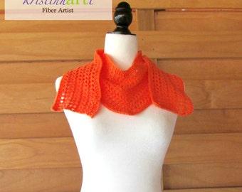 Tangerine V Shaped Open Weave Scarf / Handmade Crochet / Women's Gift Idea / Acrylic / Nylon / Orange / Stylish