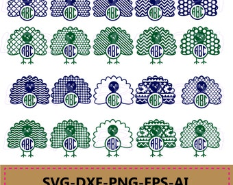 60 % OFF, Turkey SVG cut files, Turkey Monogram svg, Thanksgiving svg,  svg, png, eps, dxf, Turkey Patterns svg, Turkey Clipart