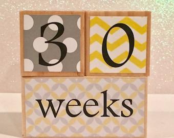 Wooden Baby Age Blocks/Pregnancy Blocks/Milestone Blocks - gray and yellow, dots, chevron