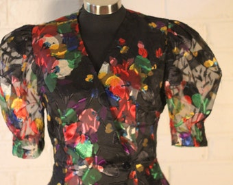Vintage 1980s blouse with floral watercolour print size 12