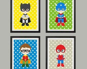 Super Heroes, Digital Print, Printable Art, Boys Decor, Superhero Print, Spiderman, Batman, Captain America, Instant Download, Boys Room,