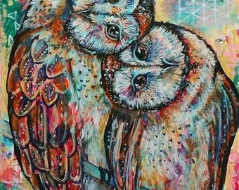 While You Are Living Stay As Close To Love AS You Can - Barn Owl Art Print  (Shelby Willis Spirit Animal Collection)