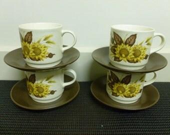 "Vintage Retro 70's Johnson of Australia Ceramic""Sherbrooke"" Set 4 Sunflower Cups and Saucers Tea set/Retro Cups/Retro Saucer-Australia"