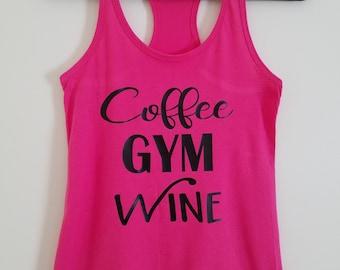 Coffee Gym Wine Racerback Tank