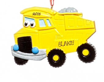 Personalized Ornament-Yellow Dump Truck-Free Gift Bag Included!