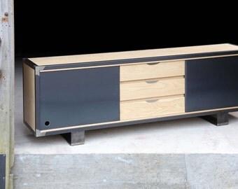 Wood metal TV stand