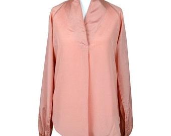 Jousse Pink Open Neck Blouse Size 36
