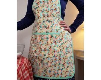 Round ecru cotton kitchen apron multicolor green links