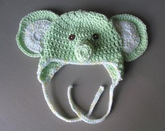 Crocheted Elephant Hat for Newborn