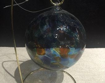 Hand Blown Glass Globe, Garden Ornament - Blue, Purple & Orange