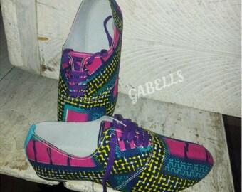 Ankara/African print fabric oxford style shoe
