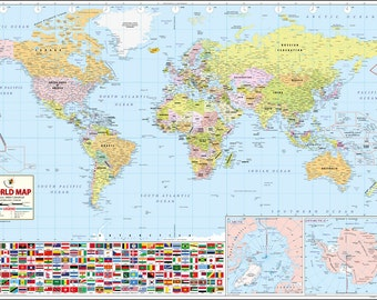 The World's Best World Map [52 x 37 inches]