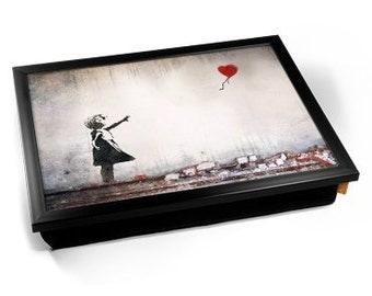 Banksy Heart Balloon Girl Cushioned Lap Tray