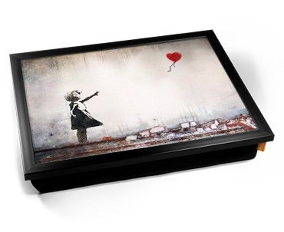 banksy heart balloon girl cushioned lap tray. Black Bedroom Furniture Sets. Home Design Ideas