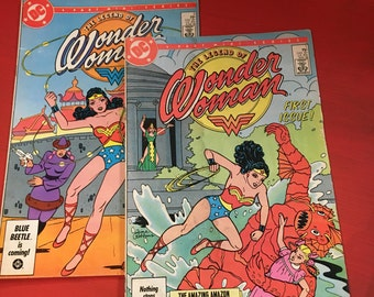 Vintage 1986 The Legend of Wonder Woman comic books. No. 1 and 2 DC comics.