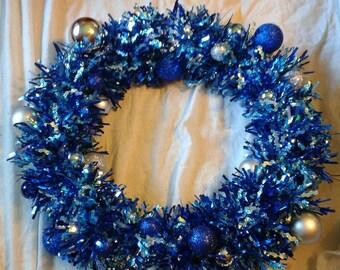 Blue Garland Wreath