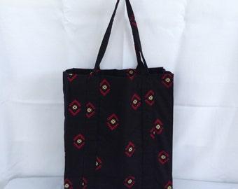 Black and Bugundy Aztec Shopping Bag/Market Bag/Grocery Bag/Handbag/Fabric Bag