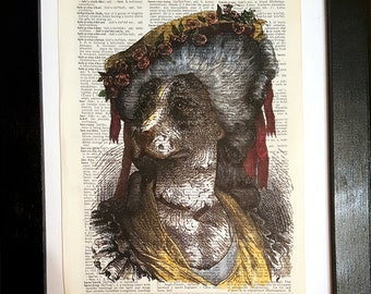 Sophisticated Hound - Victorian collage on dictionary page - vintage prints