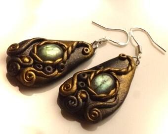 2 earrings with Labradorite, 50 mm, long earrings, labradorite, earring, polymer clay