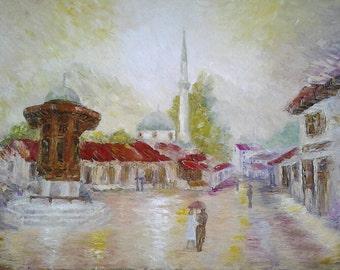 Original Oil Paintig Textured Artwork Romantic Wall Decor *Sarajevo - Bascarsija*