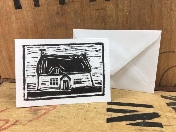 Thatch Card • Cottage Card • Thatched Cottage • English Cottage • Country Cottage • Cottage Lino Print • Cottage Illustration • Cottage Art