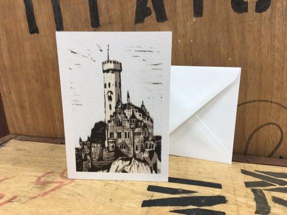 Lichtenstein Castle • Castle Card • Castle Lino Print • Castle Art • Castle Illustration • Castle Greeting Card • Castle Gift Card