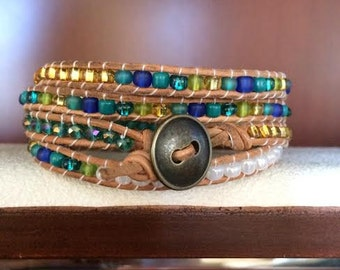 The Beach. Blue. Turquoise. Gold. White. Green. Glass Beaded Wrap Bracelet.
