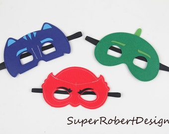 Set of 3 - PJ Masks, cat boy costume, pj masks halloween costume, pj masks owlette costume, pj masks invitation, pj mask cat boy costume