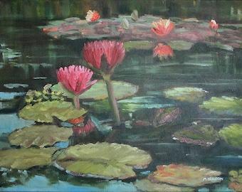 Dark Pink Lily Flower & Pad, Oil 9x12, 14x18, 18x24