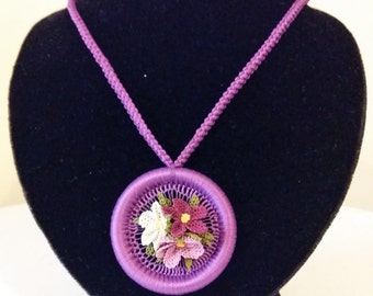 Purple Necklace with Turkish Oya Needle Lace Medium Violet Purple Cream Flowers Perfect Gift For Her
