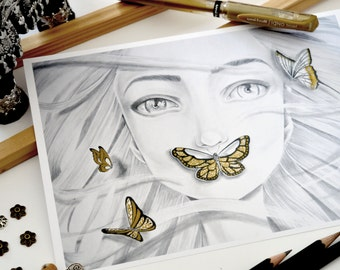 "Art pencil ""Valda"" grey/gold print"