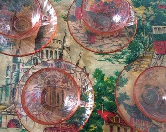 4 Arcoroc Rosaline Cups and Saucers