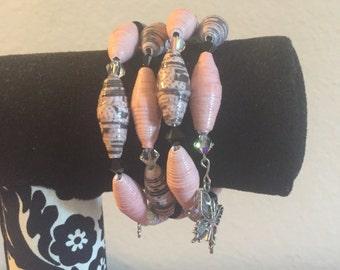 Handmade Light Pink Paper Bead Memory Wire Bracelet