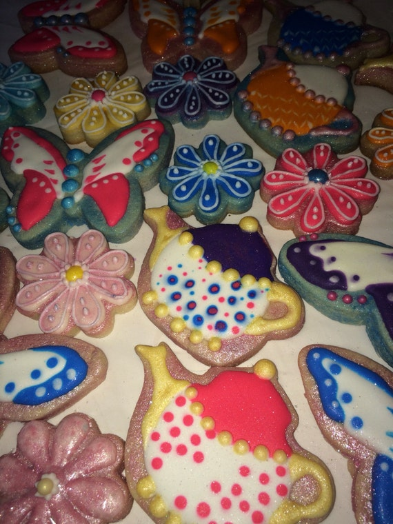 One dozen mix of spring time flowers butterflies and summer teapot sugar cookies
