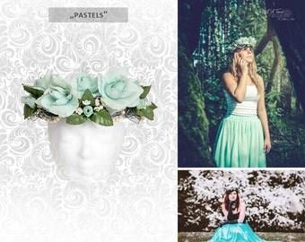 "Headdress ""pastels"" flower head dress hair wreath"
