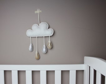 Silver and gold cloud mobile, nursery decor, kids room decor