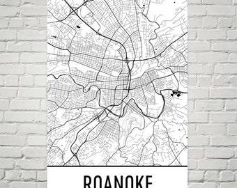 Roanoke Map, Roanoke Art, Roanoke Print, Roanoke VA Poster, Roanoke Wall Art, Roanoke Gift, Map of Roanoke, Roanoke Decor, Roanoke Map Art