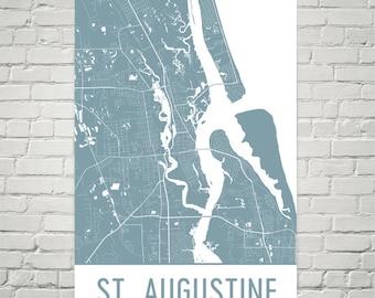 St. Augustine Map, St. Augustine Art, St. Augustine Print, St. Augustine FL Poster, St. Augustine Florida, Beach Gifts, Beach House Print