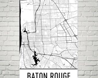 Baton Rouge Map, Baton Rouge Art, Baton Rouge Print, Baton Rouge LA Poster, Baton Rouge Wall Art, Map of Baton Rouge, Baton Rouge Decor, Art