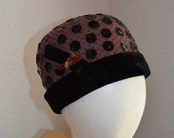 Black Felt hat with sequined polka-dots