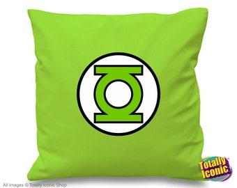 Green Lantern Pillow Cushion Cover- Inspired by the comic book hero, Alan Scott, green lantern logo