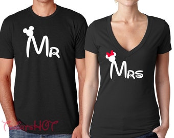 Mr and Mrs Shirts, Disney Couple shirts, Matching Disney Couple shirts, Disney Mr Mrs y shirts, Disney Honeymoon shirts, Disney Wedding