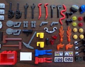 NEW LEGO Minifigure Accessory Lot for City, Town etc. Includes Tools, Cabinet, Hats, Flags + Misc Accessories