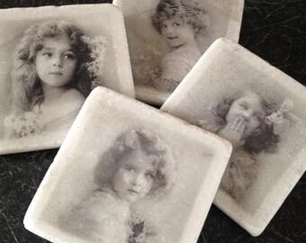 Vintage Girls! Set of 4 Marble Coasters